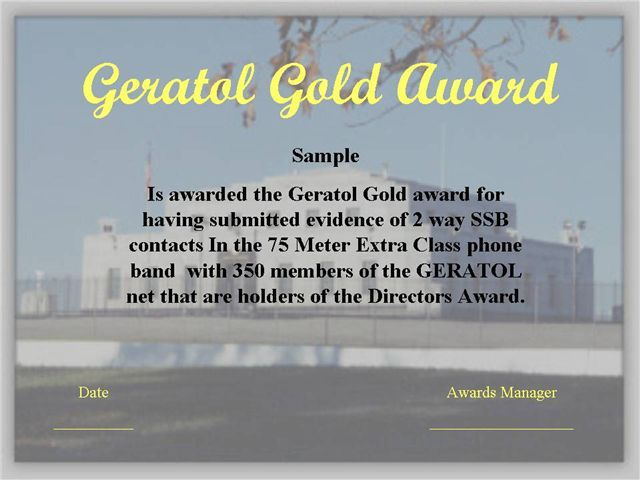 Geratol Gold Award for working 350 Directors Numbers